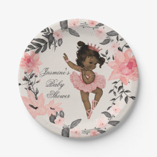 Ethnic Ballerina Watercolor Wreath Baby Shower 7 Inch Paper Plate