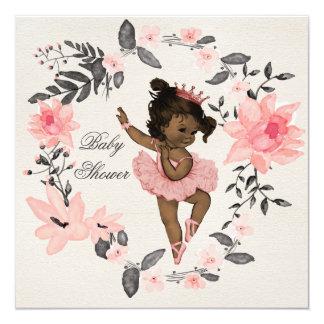 Ethnic Ballerina Watercolor Wreath Baby Shower 5.25x5.25 Square Paper Invitation Card