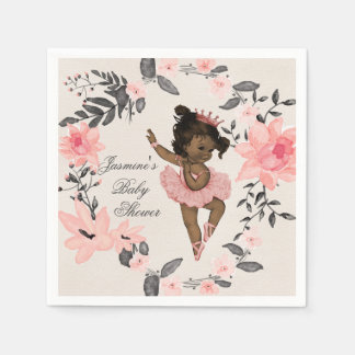 Ethnic Ballerina Watercolor Wreath Baby Shower Paper Napkin