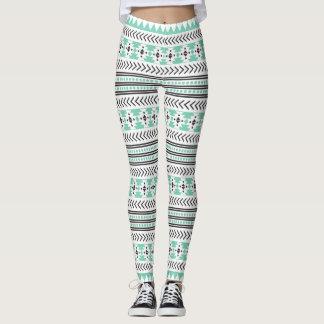Ethnic  Black White Green Aztec Tribal  Print Leggings