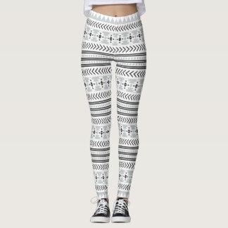 Ethnic Black White Grey Tribal Aztec  Print Leggings