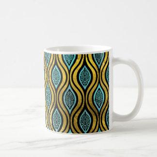 Ethnic Bohemian Gold and Blue glass pattern Coffee Mug