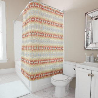 ethnic bohemian style geometric pattern. shower curtain