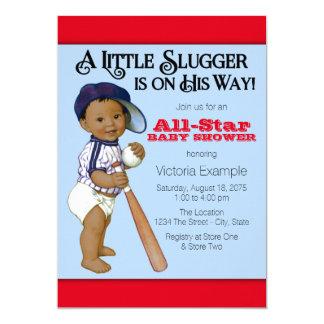 "Ethnic Boy Baseball Baby Shower 5"" X 7"" Invitation Card"