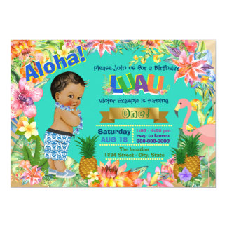 Ethnic Boy Hawaiian Luau Birthday Party 11 Cm X 16 Cm Invitation Card