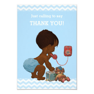 Ethnic Boy on Phone Baby Shower Thank You 3.5x5 Paper Invitation Card