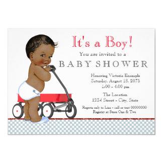 Ethnic Boy Red Wagon Baby Shower Card
