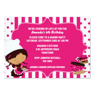 "Ethnic Chef Girl's Baking Birthday Party 5"" X 7"" Invitation Card"