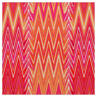 Ethnic Chevron Damask, Coral Orange and Pink Fabric