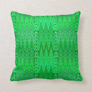 Ethnic Chevron Damask, Emerald and Lime Green Cushion