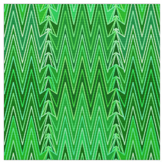 Ethnic Chevron Damask, Emerald and Lime Green Fabric