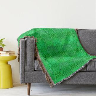 Ethnic Chevron Damask, Emerald and Lime Green Throw Blanket