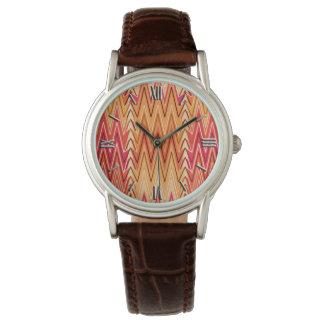 Ethnic Chevron Damask, Gold, Rust and Cream Watch