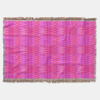 Ethnic Chevron Damask, Purple and Fuchsia Pink Throw Blanket