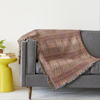 Ethnic Chevron Damask, Taupe Tan and Beige Throw Blanket