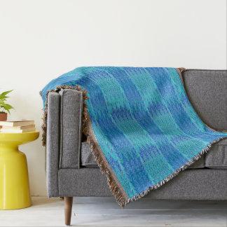 Ethnic Chevron Damask, Turquoise and Blue Throw Blanket