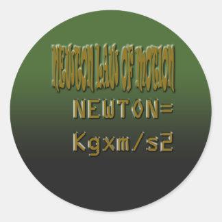 Ethnic Classic newton law of motion Round Sticker