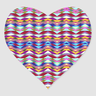 Ethnic Colorful Pattern Heart Sticker