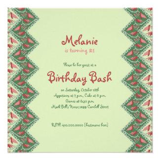 Ethnic Decorative Chevron Birthday Party Invite