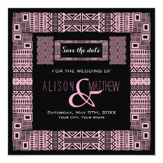 "Ethnic Design Custom Save the Date Announcement #3 5.25"" Square Invitation Card"
