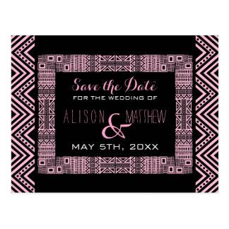 Ethnic Design Wedding Save the Date Postcard 3
