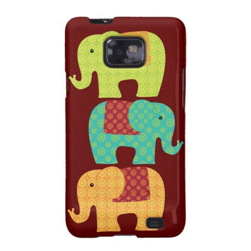 Ethnic Elephants with Flowers on Maroon Red Galaxy SII Cover
