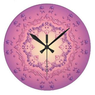 Ethnic floral mandala. large clock
