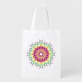 Ethnic floral mandala reusable grocery bag