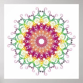ethnic floral multicolor mandala. poster