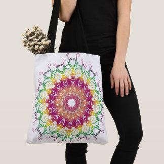 Ethnic floral multicolor mandala. tote bag