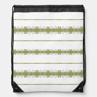 Ethnic Floral Stripes Drawstring Bag