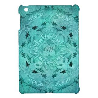 Ethnic floral turquoise grunge mandala. monogram. iPad mini cases
