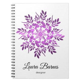 Ethnic floral violet mandala. notebooks