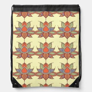 Ethnic flower lotus mandala ornament drawstring bag