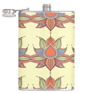Ethnic flower lotus mandala ornament hip flask