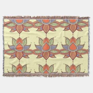 Ethnic flower lotus mandala ornament throw blanket