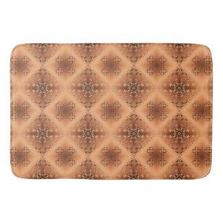 Ethnic geometric caramel pattern bath mat