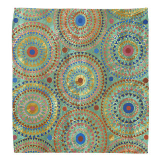 Ethnic geometric circles pattern with golden accen bandana