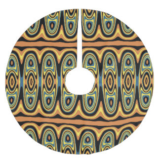 Ethnic geometric pattern brushed polyester tree skirt