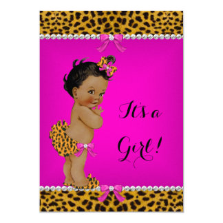 Ethnic Girl Baby Shower Leopard Hot Pink Card