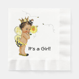 Ethnic Girl Bumble Bee Baby Shower Paper Napkins