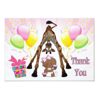 Ethnic Girl Giraffe Cupcake Baby Shower Thank You Card
