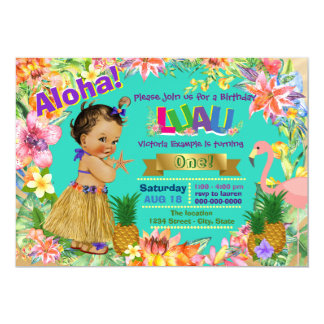 Ethnic Girl Hawaiian Luau Birthday Party 13 Cm X 18 Cm Invitation Card