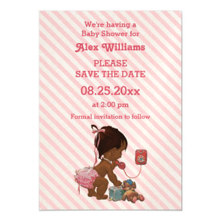 Ethnic Girl On Phone Diagonal Stripe Save The Date Magnetic Invitations