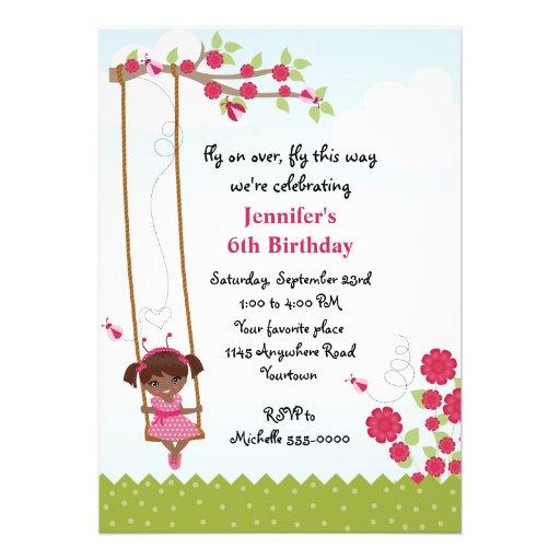 Ethnic Girls Ladybug Birthday Card