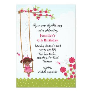 Ethnic Girls Ladybug Birthday 13 Cm X 18 Cm Invitation Card