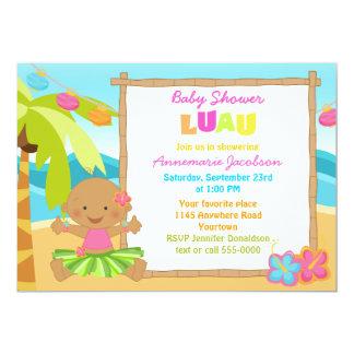 Ethnic Girls Luau Baby Shower 13 Cm X 18 Cm Invitation Card