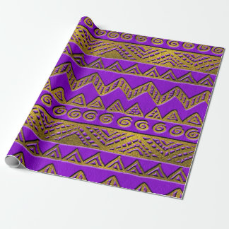 Ethnic  Golden Pattern  Swirl on Purple Leather Wrapping Paper