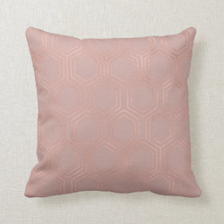 Ethnic Hexagon Honey Patches Rose Gold Pink Lilac Cushion
