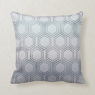 Ethnic Hexagon Honey Patches Silver Frosted Cushion